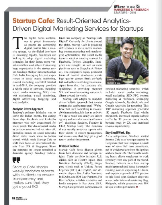 Startup Cafe Digital - Top 10 Marketing Agencies